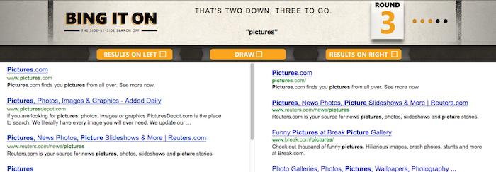 Selon Bing, la plupart des gens préfèrent Bing à Google et propose un Bing It On - Sélection des meilleurs résultats