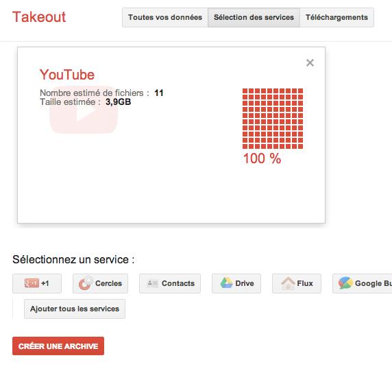 Télécharger l'ensemble de vos vidéos YouTube au format original avec Google Takeout