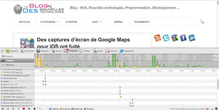 Ajout d'un émulateur des dispositifs mobiles dans les outils de développement de Chrome - Timeline Frames