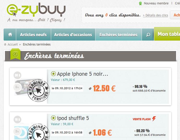 E-Zybuy, un site e-commerce d'achat ludique qui reprend le concept de l'enchère aux clics - Fin d'une enchère