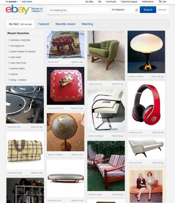 eBay, une refonte de son site à la Pinterest, pour accompagner son nouveau logo - Flux de produits dans le nouveau design d'eBay