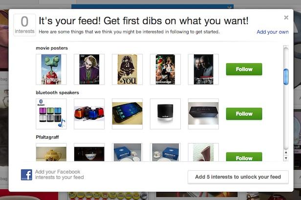 eBay, une refonte de son site à la Pinterest, pour accompagner son nouveau logo - Connexion des intérêts sur Facebook