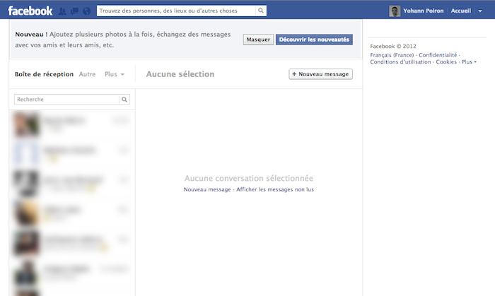 Facebook Messages se modernise en modifiant son interface utilisateur - Nouvelle interface de Facebook Messages