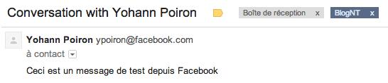 Facebook Messages se modernise en modifiant son interface utilisateur - Réception d'un mail de Facebook Messages