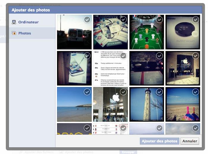 Facebook Messages se modernise en modifiant son interface utilisateur - Insertion de plusieurs images dans Facebook Messages