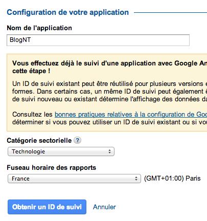 Google Mobile App Analytics enfin accessible pour tous : monitorez vos applications mobiles - Obtention de l'ID de suivi d'une application mobile