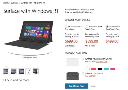 La tablette Microsoft Surface RT vous coûtera 499 $ ou 599 $ avec le Touch Cover