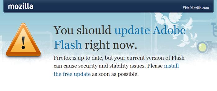 Mozilla souhaite que les utilisateurs de Firefox mettent à jour Adobe Reader, Flash, et Silverlight