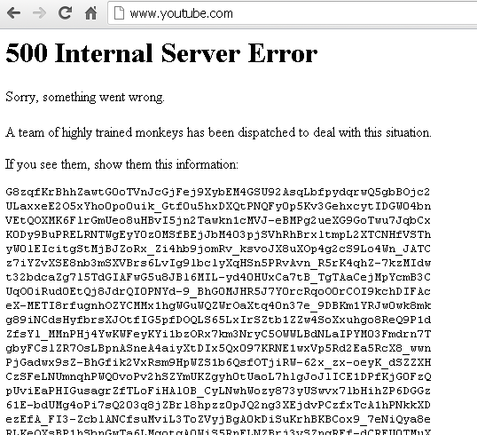 Youtube : 500 Internal Server Error