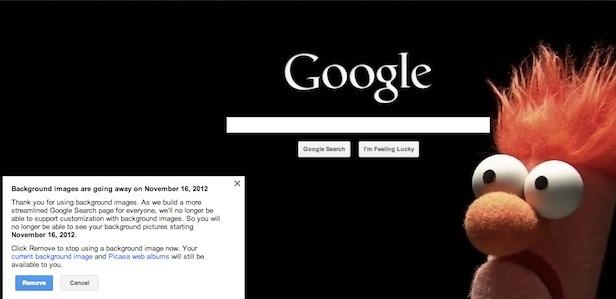 Changer le fond d'écran de Google s'est fini à partir du 16 novembre
