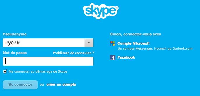 Skype se connecter avec un compte microsoft
