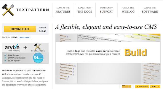 Comparaison des meilleurs systèmes de gestion de contenu (CMS) - TextPattern