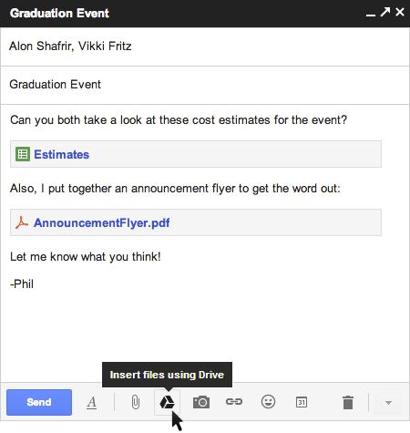 Google améliore l'intégration de Google Drive au sein de Gmail - Ajout des fichiers provenant de Google Drive
