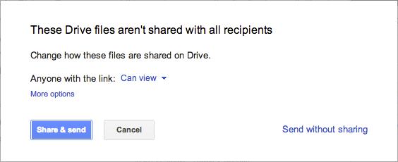 Google améliore l'intégration de Google Drive au sein de Gmail - Vérification des droits