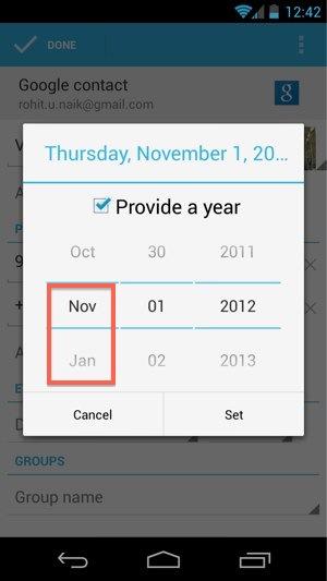 Google oublie le mois de décembre dans la mise à jour d'Android 4.2 - Oubli du mois de décembre dans l'application Contacts
