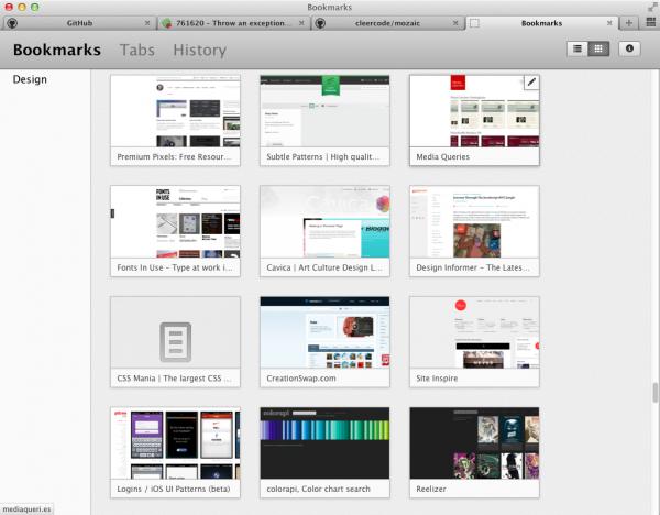 Mozilla Mozaic peut-être le futur des marque-pages - Vue des marque-pages dans Mozaic