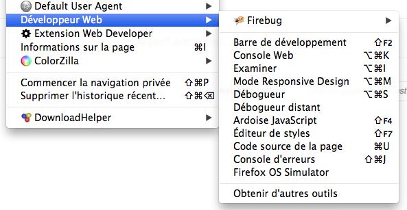 Mozilla vous permet désormais de tester Firefox OS dans votre navigateur de bureau - Accès à l'add-on depuis le menu 'Développeur Web'