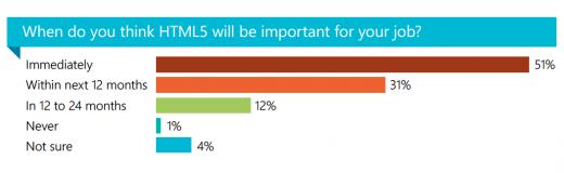 Selon un récente étude, l'utilisation de l'HTML5 est réelle ! - Adoption de l'HTML5 par les développeurs dans leur travail