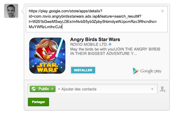 Télécharger des applications Android depuis le flux de publications Google+
