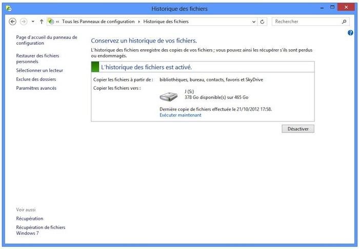 Windows 8 : trucs et astuces pour les nouveaux utilisateurs - Visualisez l'historique de vos fichiers