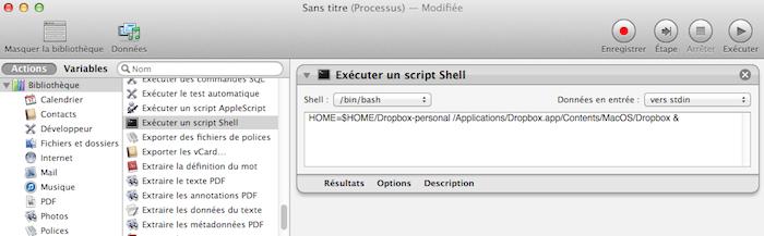 Comment faire pour utiliser plusieurs comptes Dropbox sur un seul ordinateur - Exécution du script dans Automator