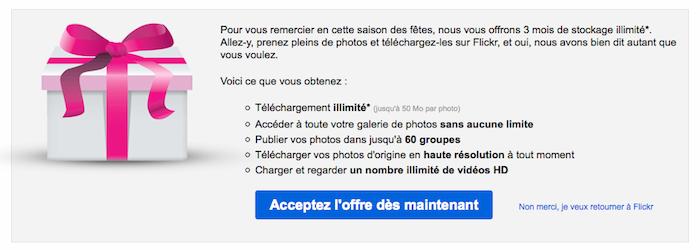 Flickr vous offre 3 mois gratuits pour son service Pro