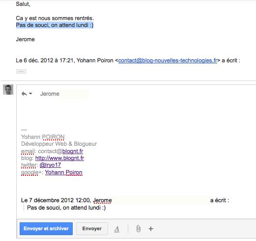 Gmail valide 3 fonctionnalités du Labs - Citer le passage