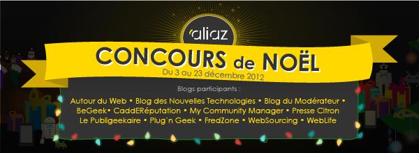Un concours de Noël par les blogueurs pour les lecteurs : Bon d'achat, Nexus 7 et comptes Aliaz
