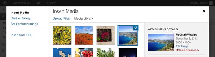 WordPress 3.5 est officiellement dans les bacs - Meilleure gestion de la galerie photos