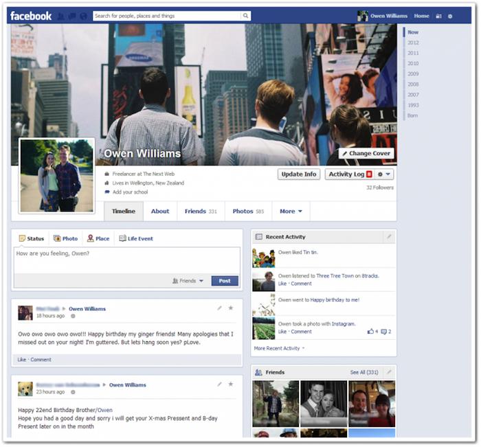 Facebook dévoile petit à petit sa conception de Timeline en une colonne - Nouvelle timeline en une colonne sur Facebook
