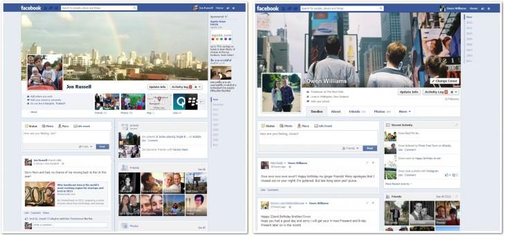 Facebook dévoile petit à petit sa conception de Timeline en une colonne - Comparaison avant/après
