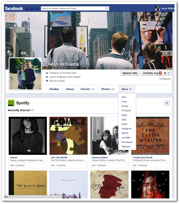 Facebook dévoile petit à petit sa conception de Timeline en une colonne - Onglet 'Autres'