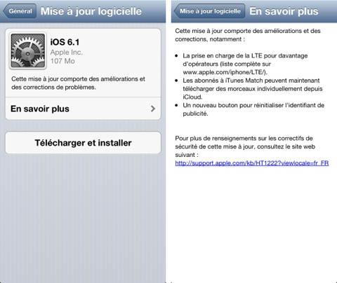 iOS 6.1 est enfin disponible pour votre iPhone, iPad et iPod Touch