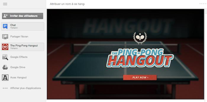 Ping Pong Hangout, le nouveau jeu sur Google+ - Lancement du hangout dédié au Ping-Pong