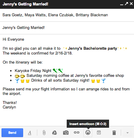 Gmail dispose désormais d'un bouquet de nouveaux émoticônes