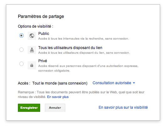 Google Drive permet maintenant d'héberger des sites Web - Partage public d'un dossier