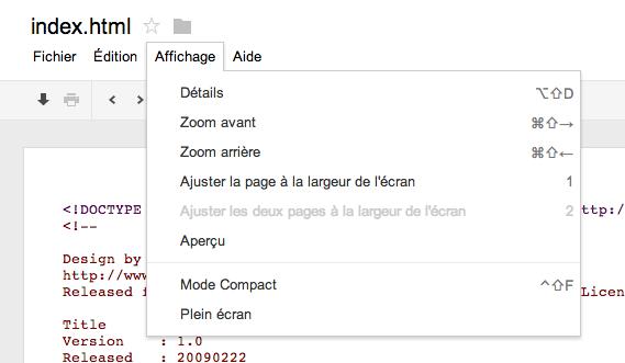 Google Drive permet maintenant d'héberger des sites Web - Aperçu de la page