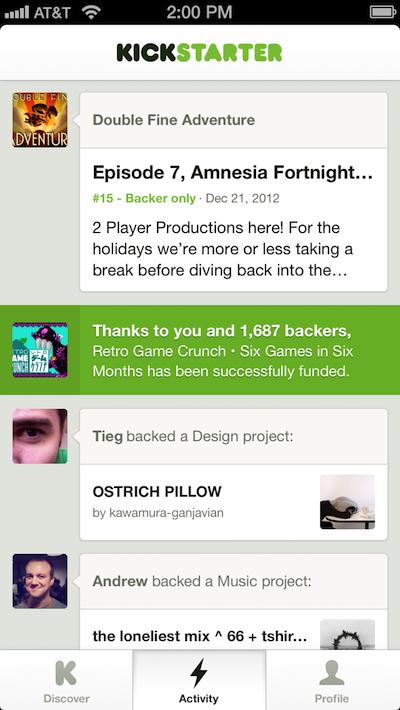 Kickstarter arrive sur votre mobile, iOS en premier - Onglet 'Activity' Kickstarter sur iOS