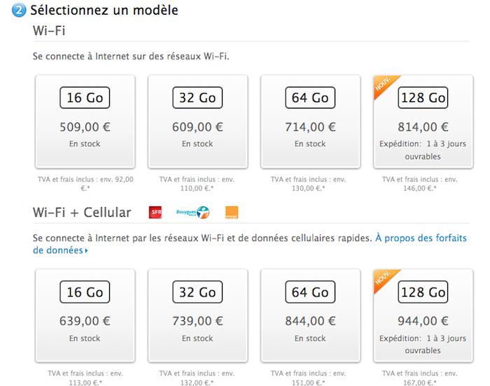 L'iPad de 128 Go est maintenant disponible à 814€ et 944€ selon le modèle