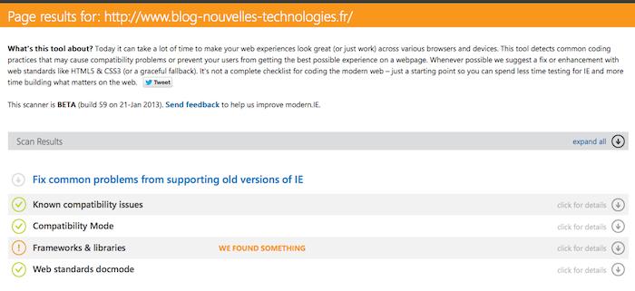 Microsoft lance Modern.IE visant à soulager la douleur des tests IE pour les développeurs - Scan d'une page Web
