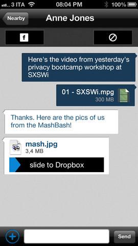 ProxToMe application vous permet de partager facilement des fichiers avec quelqu'un à proximité - Partage d'un fichier par ProxToMe