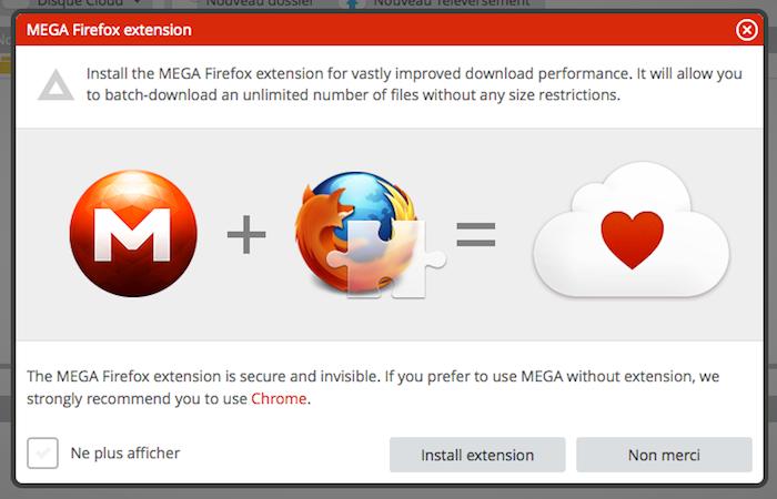 Une extension pour Firefox pour Mega, le service de stockage sur le cloud de Kim Dotcom - Désormais Mega recommande également Firefox mais avec l'extension