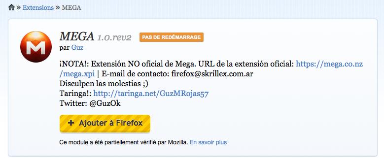 Une extension pour Firefox pour Mega, le service de stockage sur le cloud de Kim Dotcom - Lancement de l'extension Firefox pour Mega