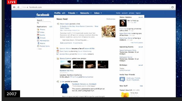 News Feed de Facebook en 2007
