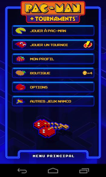 Accueil du jeu Pac-Man + Tournaments