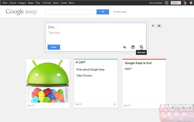 Google Keep le service de notes de Google et futur rival d'Evernote ? - Possibilité de créer une liste de notes