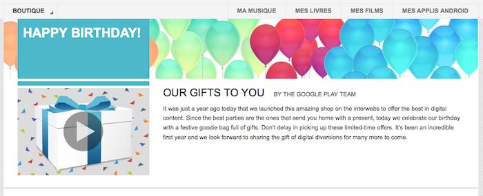 Google propose quelques cadeaux pour le 1er anniversaire de son Play Store