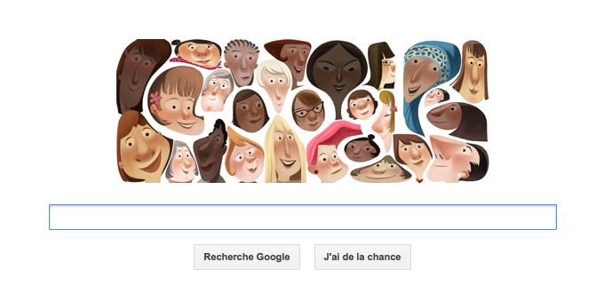 Journée internationale de la femme en doodle du jour