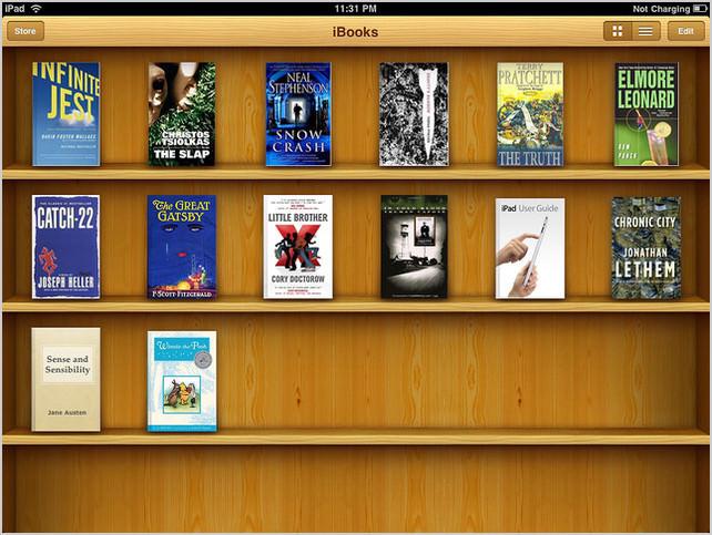 La fin du skeuomorphisme dans la prochaine version d'iOS pour un design à plat ? - De nombreuses traces de skeuomorphisme dans iOS et notamment avec l'application iBooks