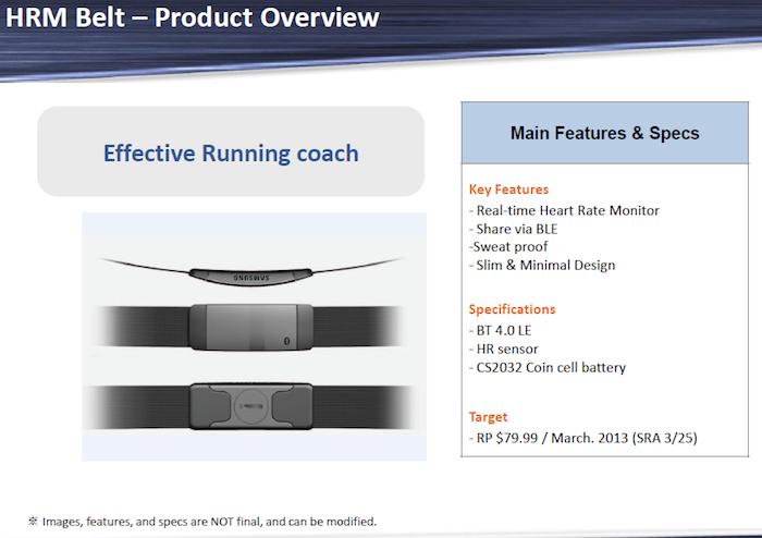 Le prix et la disponibilité des accessoires du Samsung Galaxy S4 ont fait surface - HRM Belt